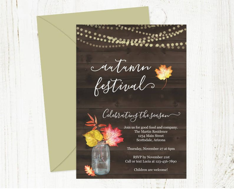 printable fall party invitation template rustic autumn