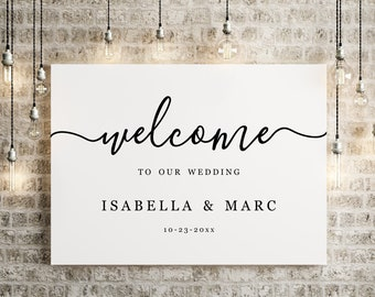 Wedding Welcome Sign Printable Template - Modern Minimalist Black and White Simple Poster Decoration Instant Download Digital File Editable