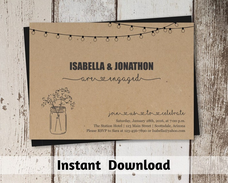 Engagement Party Invitation  Printable Template  Rustic image 0