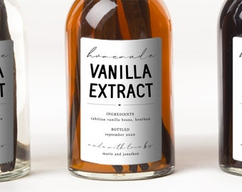 Homemade Vanilla Extract Label Template - Printable Gift Sticker, Personalize Custom Editable PDF Digital File Instant Download DIY