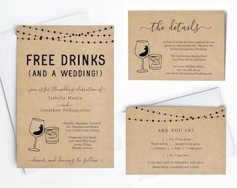 Funny Wedding Invitation Template, Free Drinks Fun Printable Set, Rustic Kraft Paper, Instant Download Digital File PDF Suite, Wine Cocktail