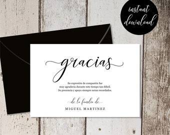 Spanish Funeral Thank You Card Template - Simple Black & White Sympathy Acknowledgement Thanks Gracias - Men / Women - PDF Instant Download
