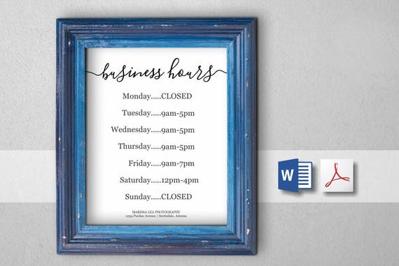 Business hours sign printable template hours of operation etsy image 0 accmission Images