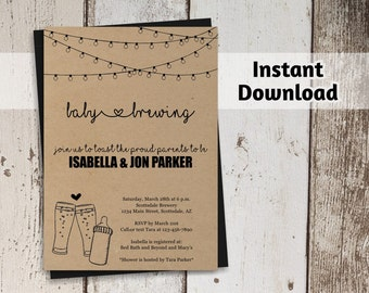 Baby is Brewing Invitation Printable Template - Beer Baby Shower - Glass & Baby Bottle - Instant Download Editable PDF File - Printed