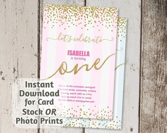 Gold Glitter Invitation for 1st Birthday Party - Pink Girl / Blue Boy - Digital File Instant Download - Photo Prints / Card Stock - First