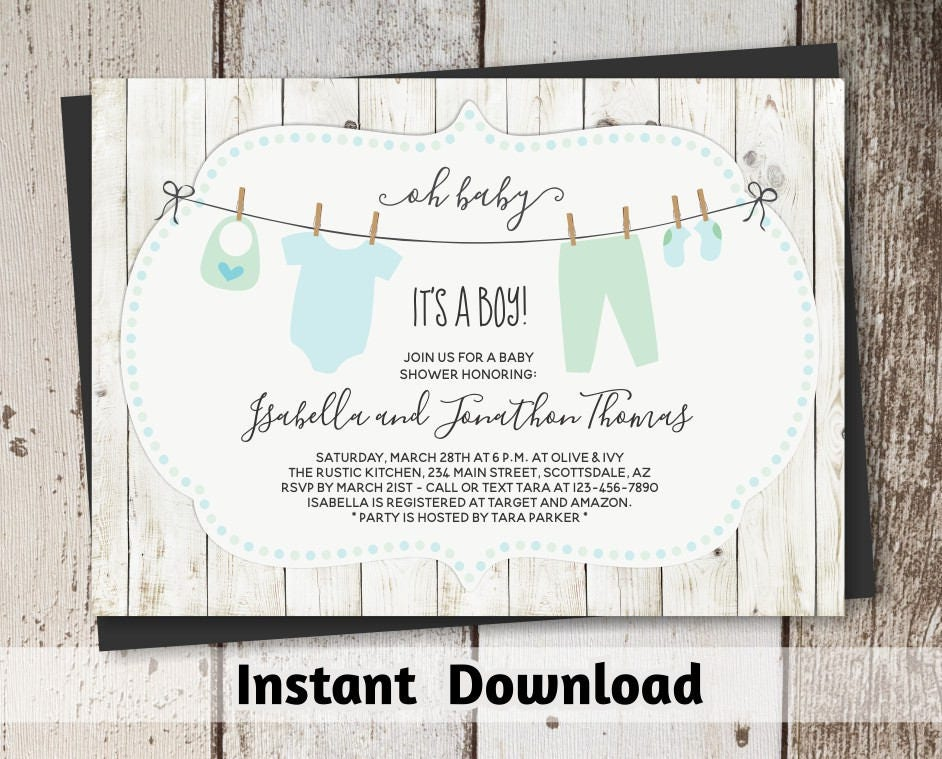 Rustic Baby Shower Invitation For Boy Printable Template