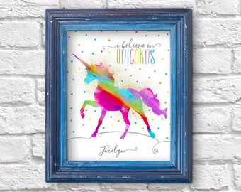 Personalized Rainbow Unicorn Wall Art, Room Decor, Print, Picture - Tween Teenage Girl Printable Last Minute Christmas Gift Instant Download