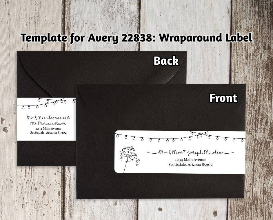 Printable Address Template For Envelope Wraparound Labels Avery