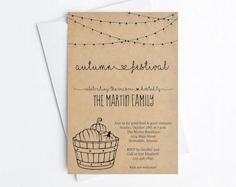 Fall Party Invitation Template, Printable Pumpkin Carving Autumn Festival Rustic Halloween Invite & Evite, Instant Download Digital File PDF