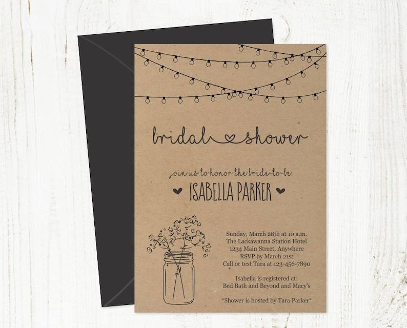 Printable Bridal Shower Invitation Template  Rustic Floral image 0
