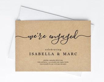 We're Engaged Engagement Party Invitation Template, Printable Minimalist Modern Elegant Simple Invite Evite Instant Download Digital File