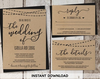 Wedding Invitation Template - Rustic Printable Set | String Lights, Calligraphy | Kraft Paper | Editable Instant Download Digital File Suite