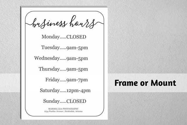 Business hours sign printable template hours of operation etsy business hours sign printable template hours of operation holiday office store open hours pdf word diy instant download digital file cheaphphosting Gallery