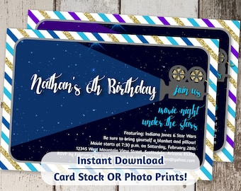Movie Invitation - Outdoor Movie Night - Drive In Movie Under the Stars - Digital File Instant Download - Birthday Party