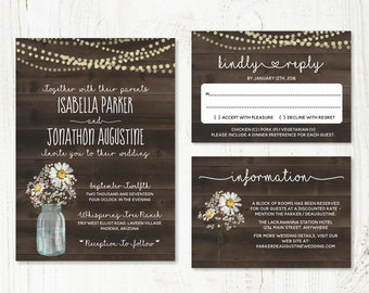 Chamomile Wedding Invitation Template - Rustic Baby Breath, Mason Jar, Lights & Wood Printable Set | PDF Instant Download Digital File Suite