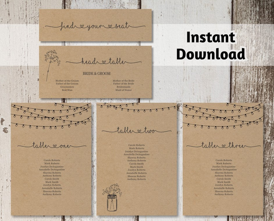 image regarding Head in a Jar Printable referred to as Marriage ceremony Seating Chart Printable Template - Rustic Mason Jar