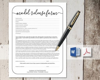 Printable Photography Model Release Form Template - Simple Rustic Design for Photographer - NO COLOR INK - word & pdf Instant Download