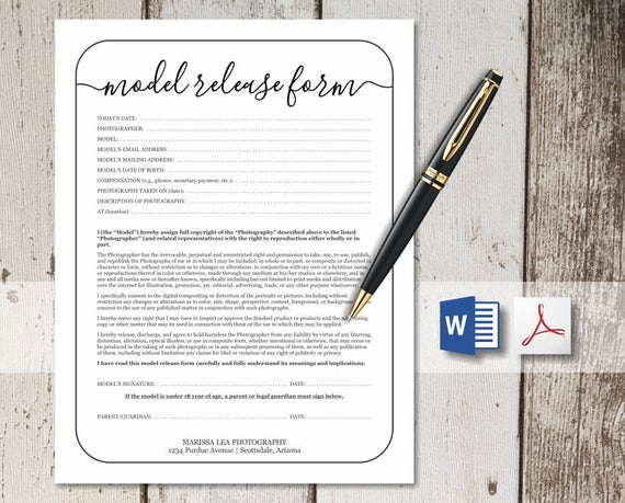 Printable Photography Model Release Form Template Simple Rustic Design For Photographer No Color Ink Word Pdf Instant Download