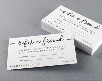 Printable Referral Card Template, Refer a Friend, Simple Business Card Size, Avery, Editable PDF Instant Download, Salon Dental Hair Stylist