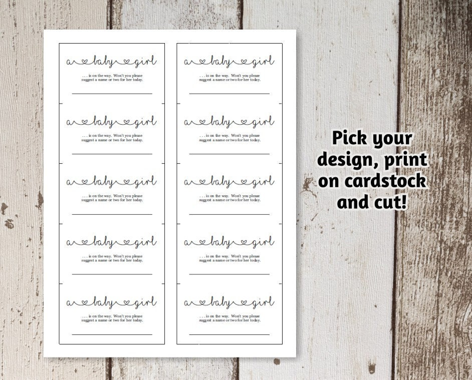 Baby Name Suggestions Card Printable Template, Gender Reveal