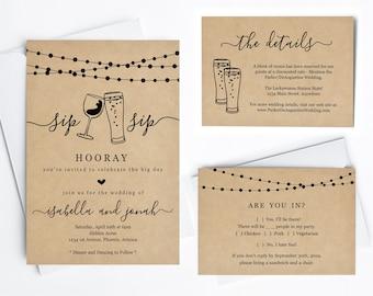 Fun Wedding Invitation Template - Sip Sip Hooray Funny Wine and Beer Printable Set - Rustic Kraft Paper   Instant Download PDF Suite - Light