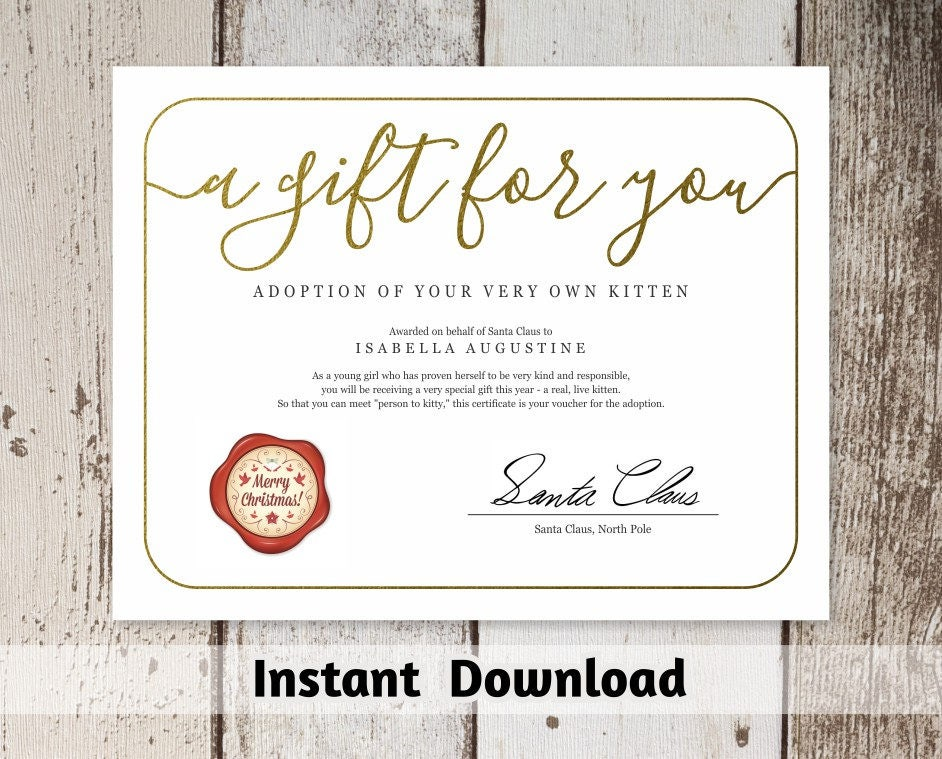 Gift Certificate From Santa Claus Printable Christmas Gift