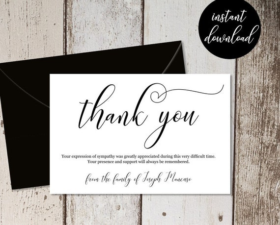 Black And White Thank You Card Template Wedding Invitation Thank