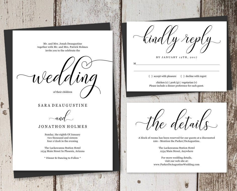 Traditional Wedding Invitation Template Printable Set Formal