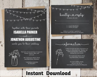 Chalkboard Wedding Invitation Template - Rustic Mason Jar Printable Set | Editable PDF Instant Download Digital File Suite - String Light