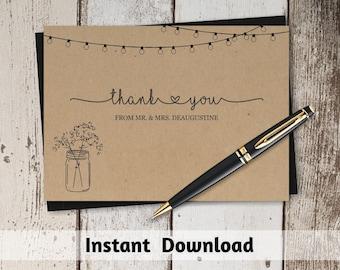 Printable Wedding Thank You Card Template - Rustic Mason Jar & Fairy Lights on Kraft Paper | Editable DIY PDF Instant Download | 4x6 and 5x7