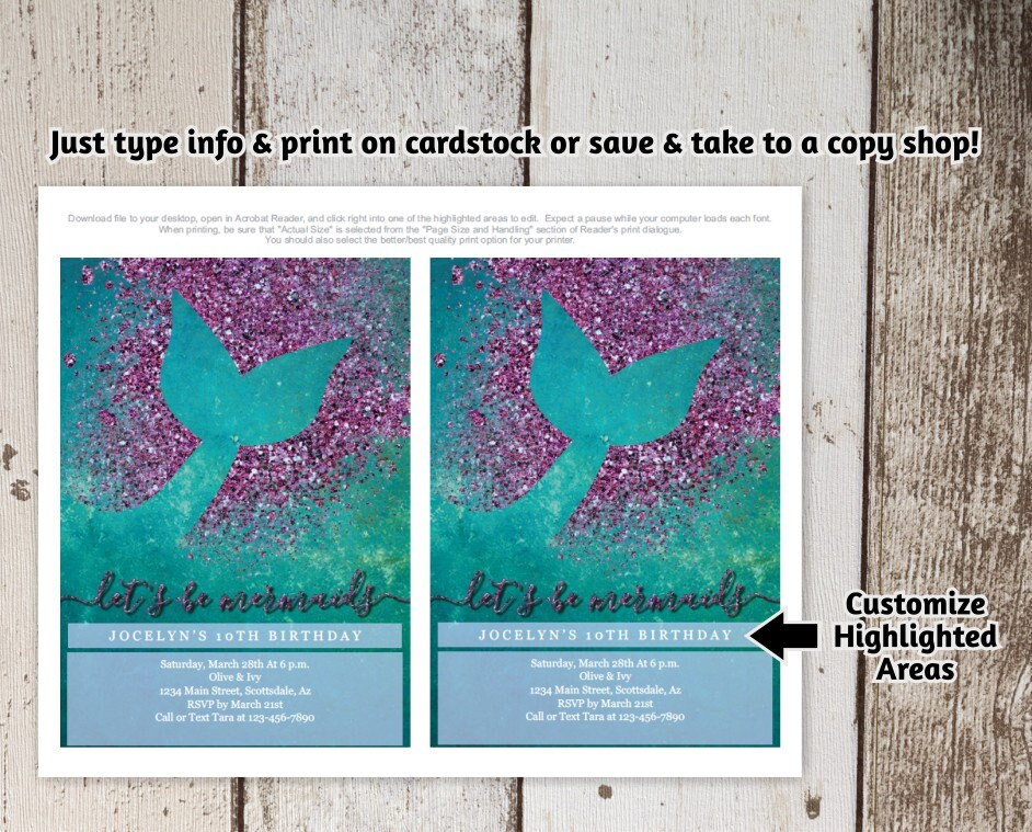 Printable Mermaid Invitation Template Birthday Party Invite Theme First 1st Instant Download Digital File PDF