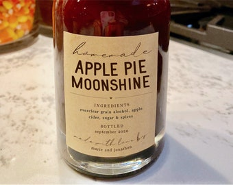 Homemade Apple Pie Moonshine Label Template - Printable Jar Gift Sticker, Personalize Custom Editable Digital File Instant Download DIY PDF