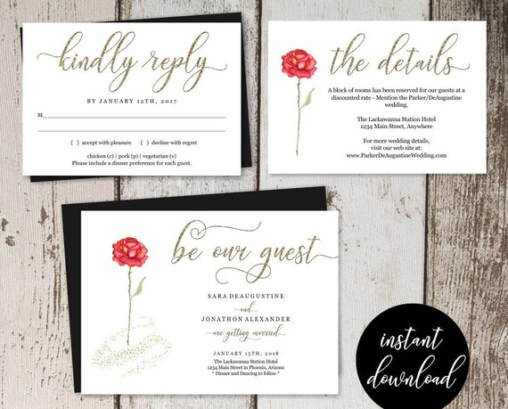 Beauty And The Beast Wedding Invitation Template Printable Set Etsy