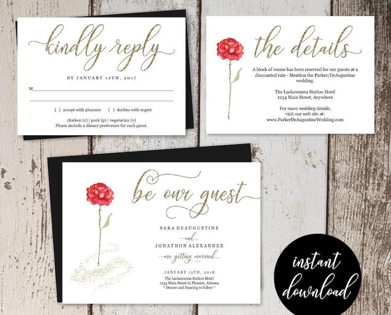 Beauty And The Beast Wedding Invitation Template Printable Set