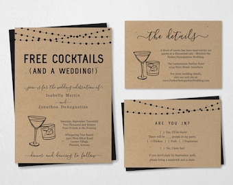 Funny Wedding Invitation Template - Free Cocktail Drink Alcohol Fun Printable Set - Rustic Kraft Paper   Instant Download PDF Suite - Lights