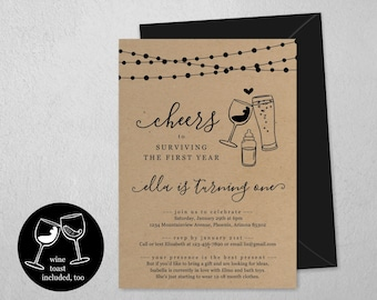 Cheers to Surviving the First Year, Beer & Wine Toast Funny 1st Birthday Invitation Template, Party Invite Instant Download Digital File PDF