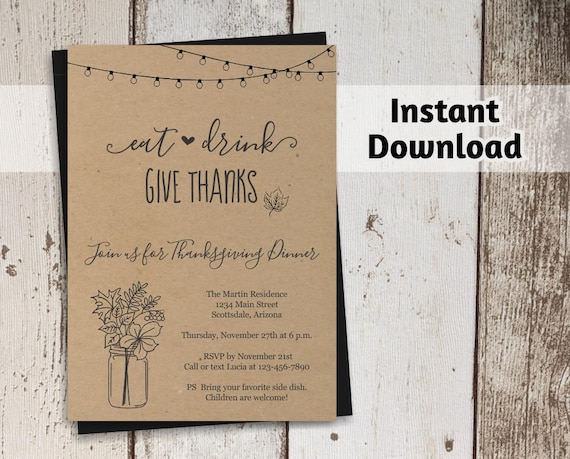 printable thanksgiving invitation template rustic etsy