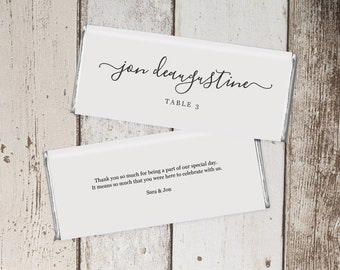 Wedding Favors that Double as Place Cards - Hershey Wrapper Placecard Template - Printable 1.45 & 1.55 oz Chocolate Candy Bar Label PDF