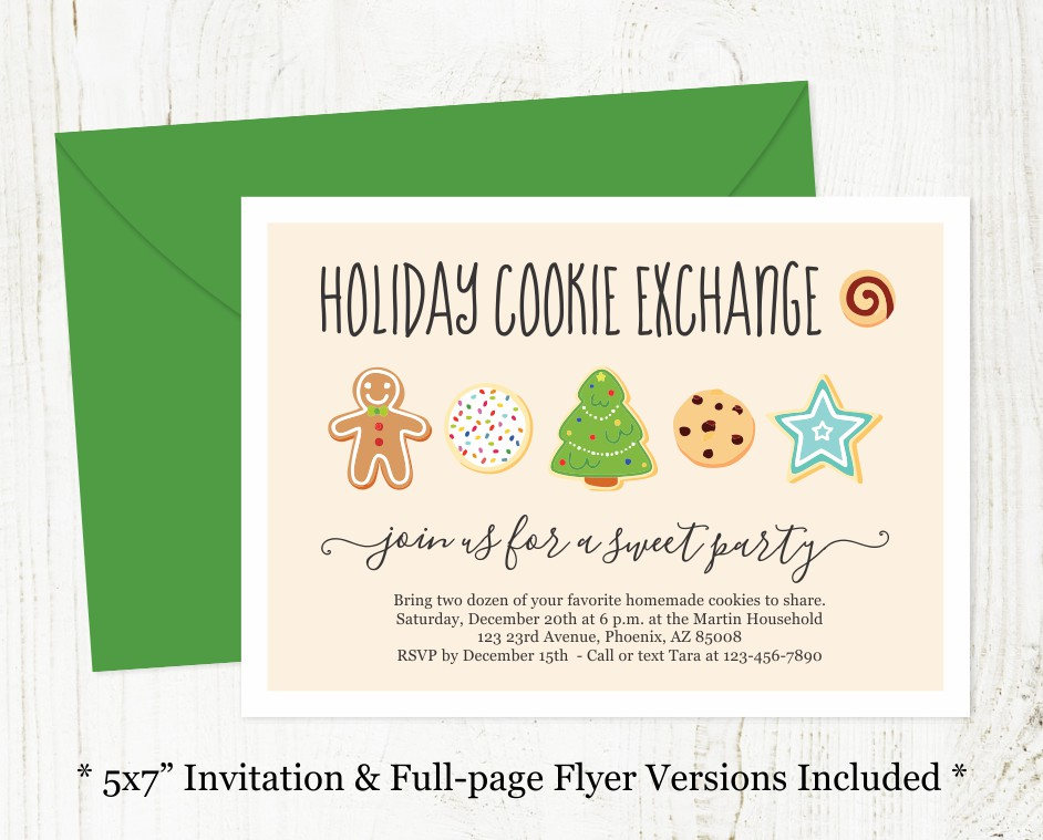 Holiday Cookie Exchange Invitation Printable Christmas Cookie Swap