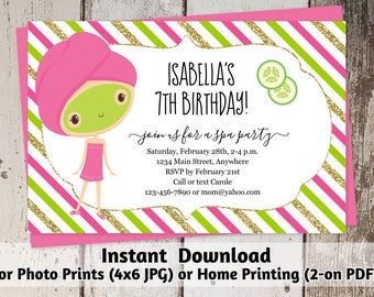 Salon Party Invitation - Girls Spa Day Birthday Template - Printable Instant Download Digital File for Photo Prints & Card Stock - Facial
