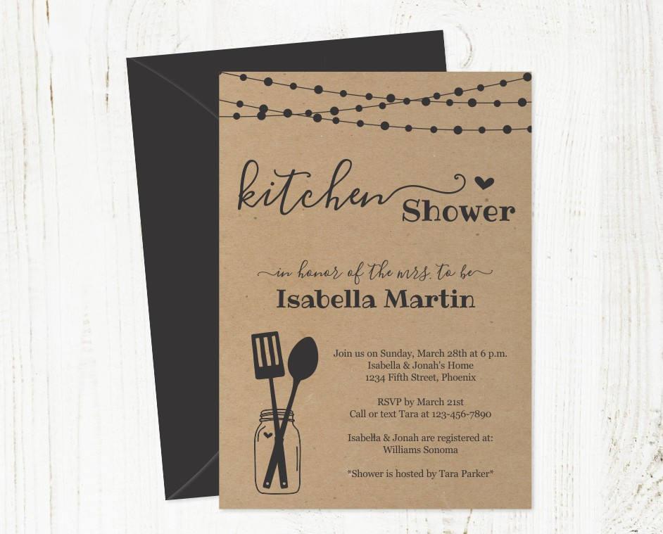 Kitchen Shower Invitation Template Bridal Wedding Printable