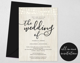 All in One Wedding Invitation w- RSVP and Registry, Printable Seal & Send Template, Simple Invite, Rustic Wood Lights, Download Digital File