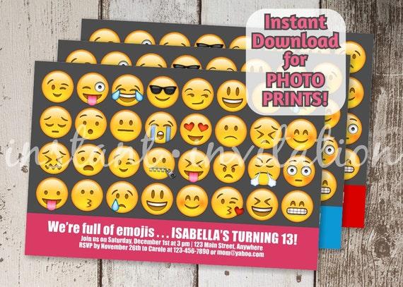 Emoji Invitation For Birthday Party Printable Digital File