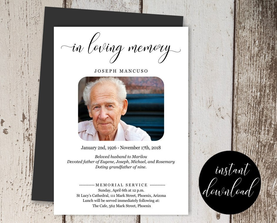 Funeral Announcement Template - Printable Memorial Service, Mass ...