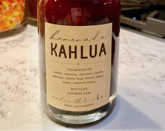 Homemade Kahlua Label Template - Printable Gift Sticker, Personalize Custom Editable PDF Digital File Instant Download DIY PDF