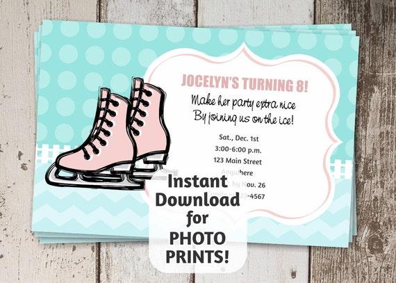 printable ice skating invitation template for girls birthday etsy