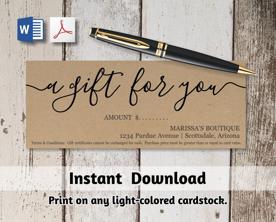 printable gift certificate gift card template simple rustic kraft