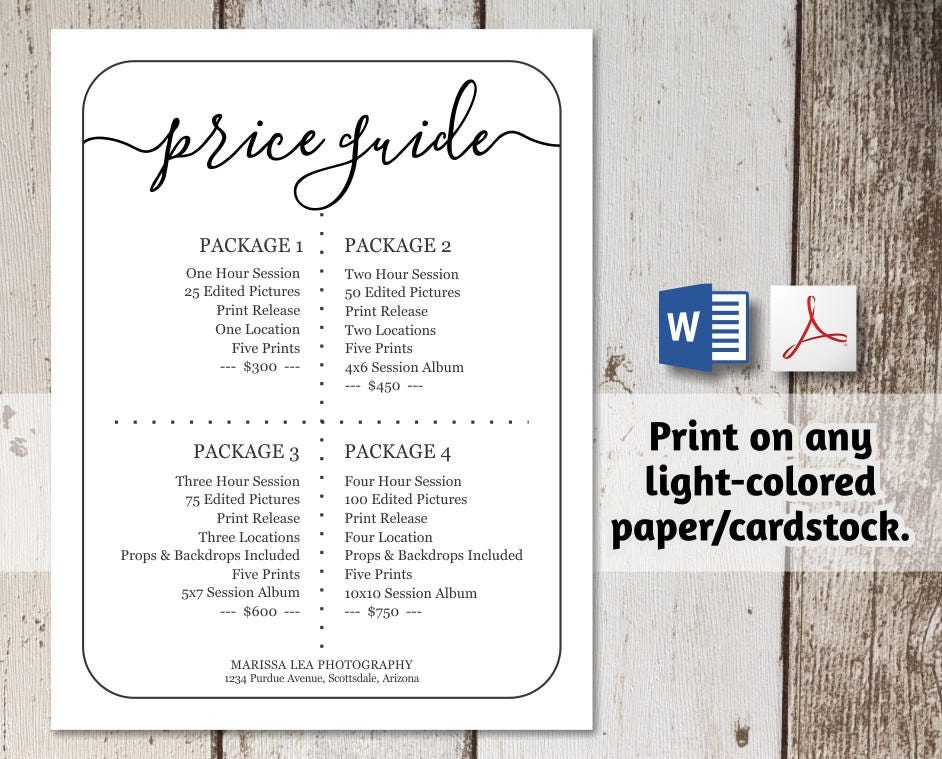 Printable price list template no color ink word pdf instant printable price list template no color ink word pdf instant download business photographers simple pricing guide sheet wajeb Gallery