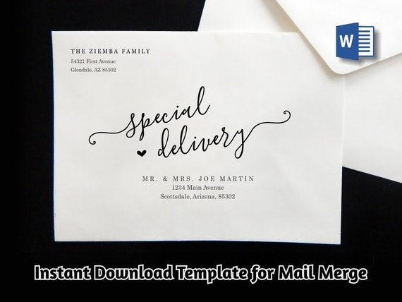 Wedding Address Envelope Template For Microsoft Word Mail Merge