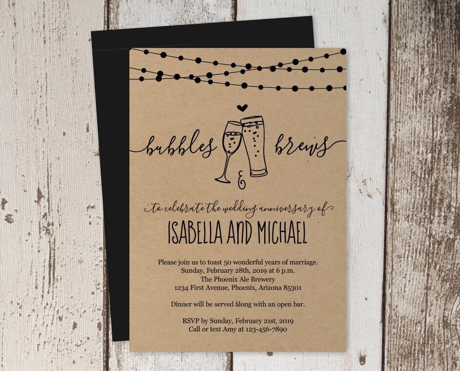 Bubbles Brews Wedding Anniversary Party Invitation Template
